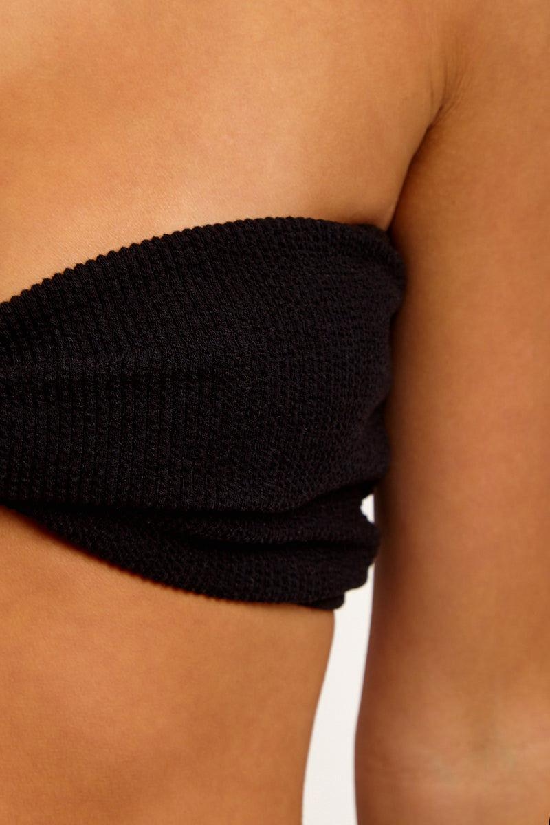MOTEL Samara Strapless Bikini Top - Black-Crinkle Rib Bikini Top | Black-Crinkle Rib|Samara Strapless Bikini Top - Features:  Sweetheart Neckline Bandeau Bikini Top Front Cinched Detail