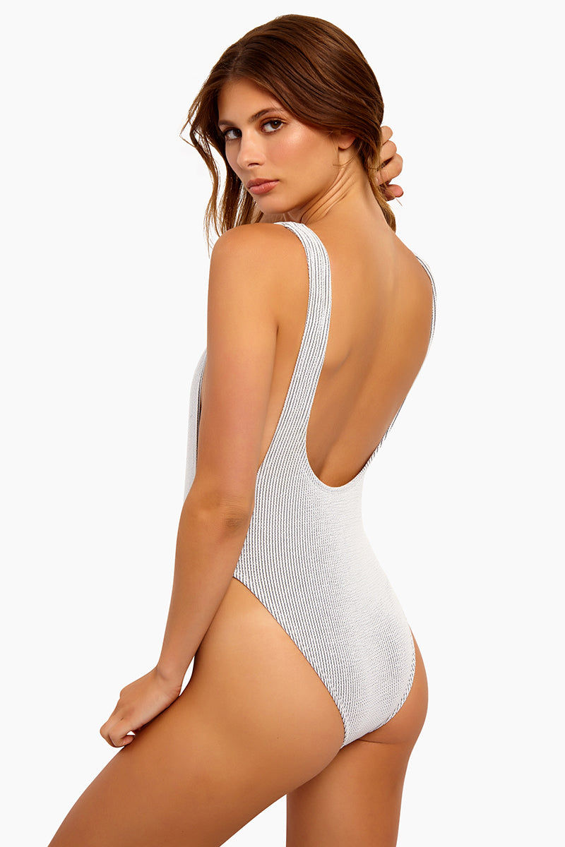 b193956c9 MOTEL Goddess Super High Leg One Piece Swimsuit - White Crinkle Rib One  Piece