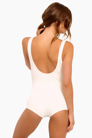 SOLID & STRIPED The Edie Drawstring Plunge One Piece Swimsuit - Cream One Piece | Cream| Solid & Striped The Edie Adjustable Tie One Piece Swimsuit - Cream Plunging neckline Hits high on the thigh Flattering adjustable drawstring at waist Full coverage Made in Morocco Shell: 80% polyester, 20% elastane Lining: 85% polyamide, 15% elastane Care instructions: hand wash in cold water, do not tumble dry Back View
