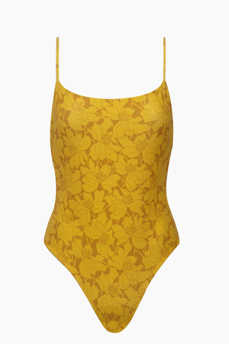 GILLIA Marina Criss Cross Back One Piece Swimsuit - Marigold One Piece   Marigold  GILLIA Marina Criss Cross Back One Piece Swimsuit - Marigold One piece swimsuit Adjustable criss-cross High leg cut Moderate coverage 80% Nylon / 20% Spandex Made in Indonesia Flatlay View