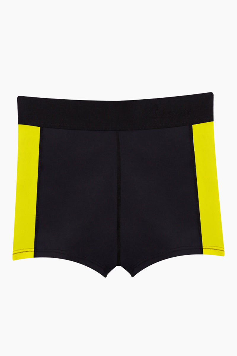 ABYSSE Osa High Waist Shorts - Yellow Shorts | Yellow| Abysse Osa High Waist Shorts - Yellow. Features:  Cheeky Shorts Side Panel Feature Seamless Aqua tech YKK zipper 2 inch elastic waistband Dry Fast and UV protective Muscle Compression fabric Front View