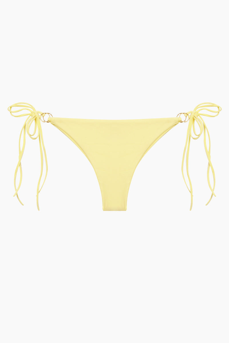 KAOHS Marla Side Tie Bikini Bottom - Yellow Bikini Bottom |  Yellow| Kaohs Marla Side Tie Bikini Bottom - Yellow Features:  Low rise fit Metal ring at the sides with adjustable tie Cheeky coverage Seamless design 80% nylon, 20% spandex Hand wash Front View