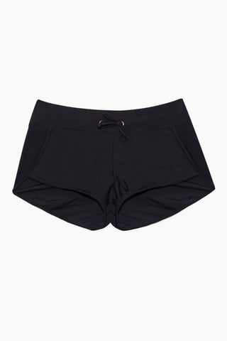 QUINTSOUL Adjustable Waistband Swim Shorts - Black Bikini Bottom | Black| Quintsoul Adjustable Waistband Swim Shorts - Black. Features:  Black swim shorts Adjustable waistband Full coverage Front View