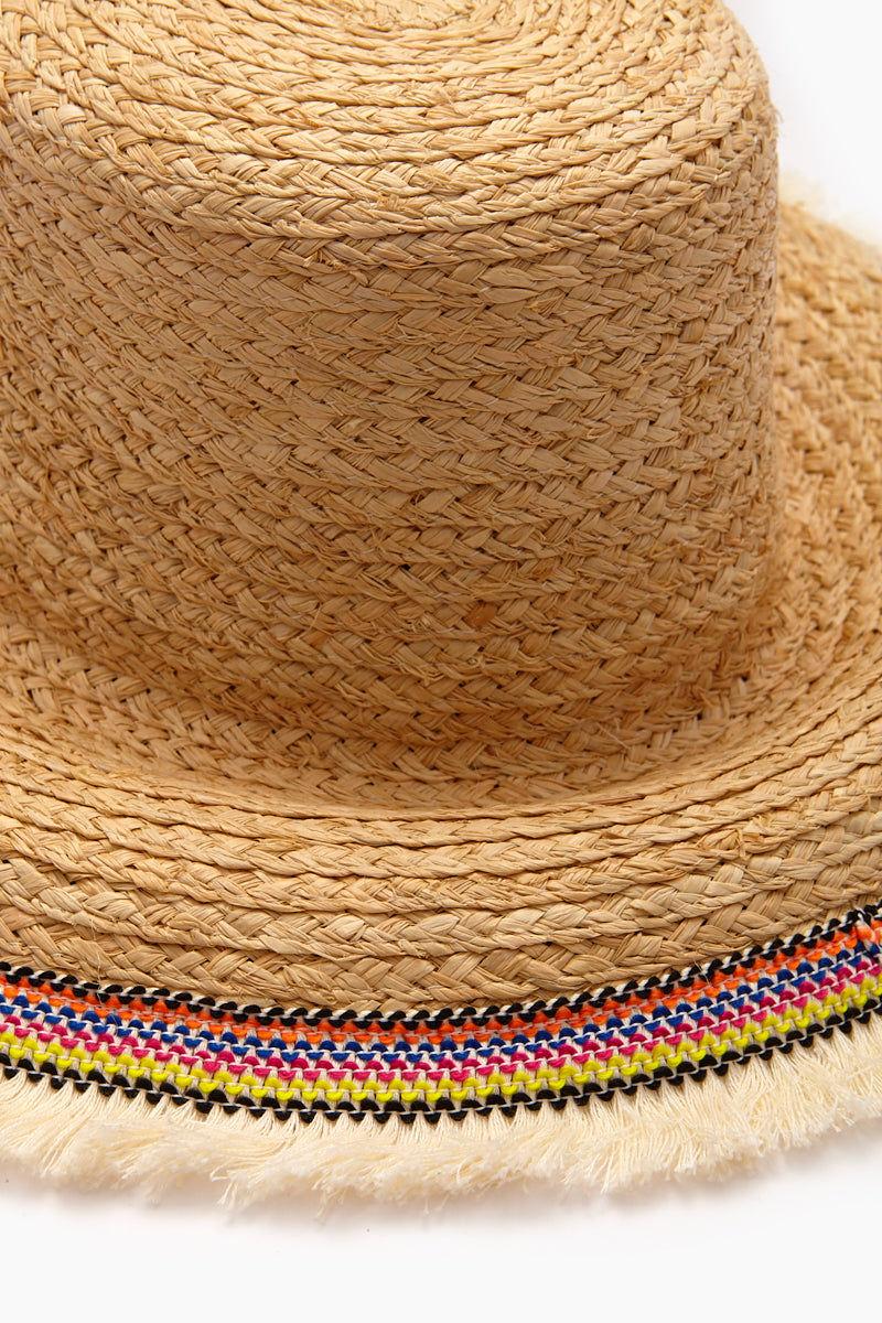 "HAT ATTACK Fringed Raffia Braid Lampshade Hat - Natural Hat |  Natural | Hat Attack Raffia Braid Lampshade Hat - Natural Features:  Lightweight with fringed brim Brim height, about 4"" Raffia Spot clean Close Up view"