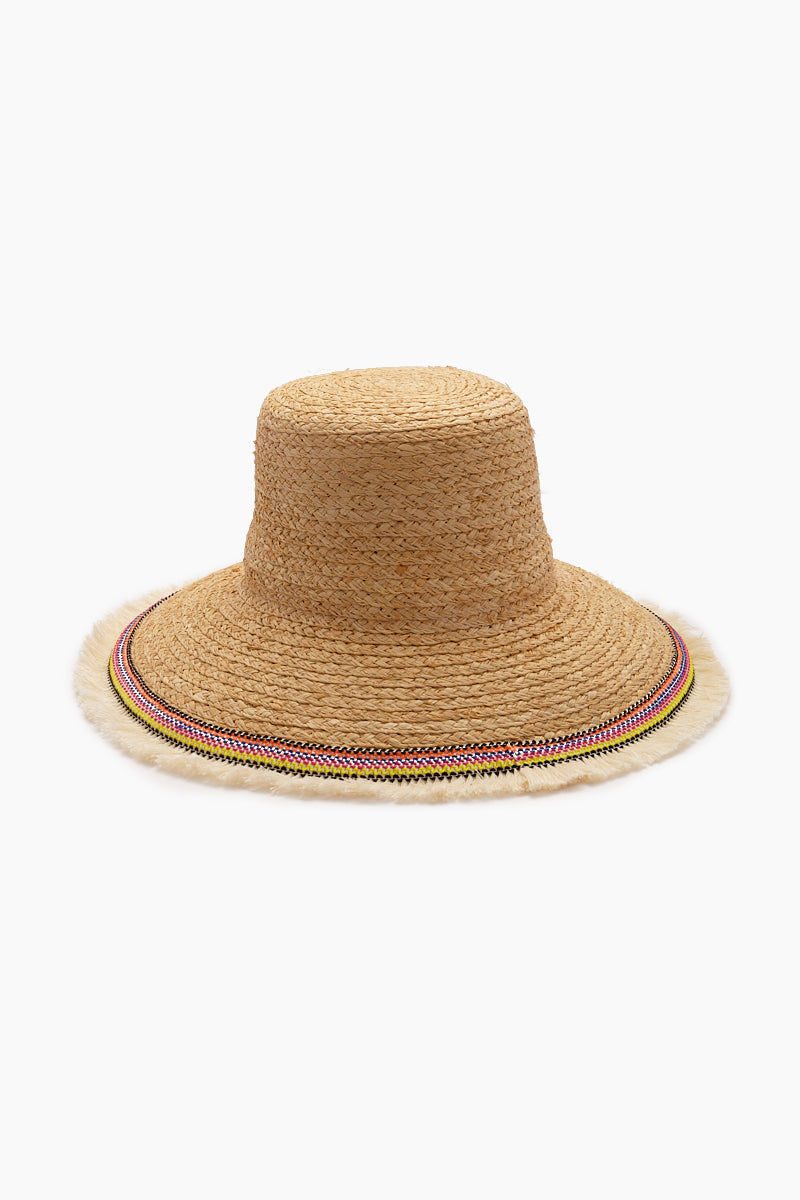 """HAT ATTACK Fringed Raffia Braid Lampshade Hat - Natural Hat 