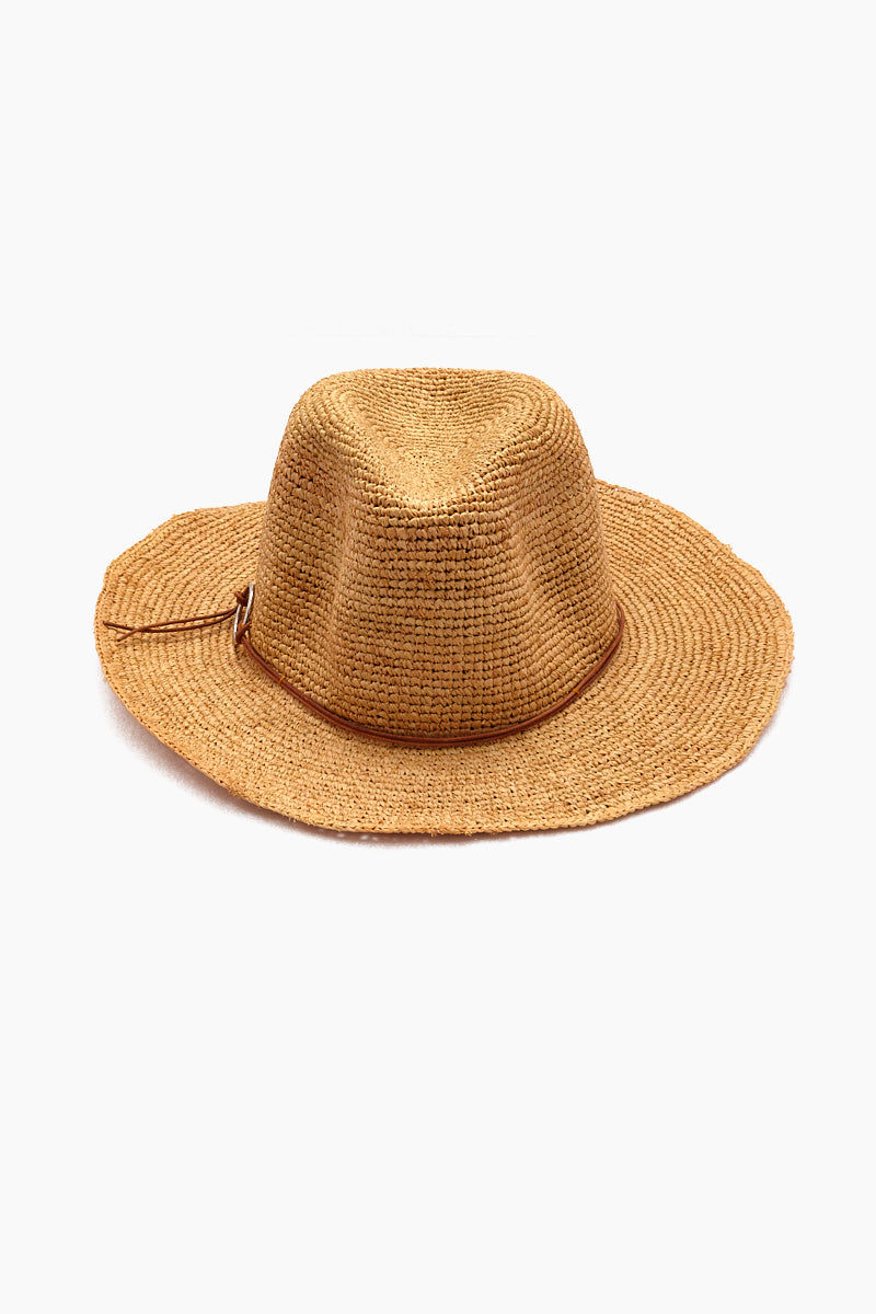 HAT ATTACK Raffia Crochet Rancher Hat - Toast Hat | Toast| Hat Attack Raffia Crochet Rancher Hat - Natural/Silver Features:  Lightweight crochet rancher hat Leather hatband with ring detail Raffia Flat brim Spot clean Front View