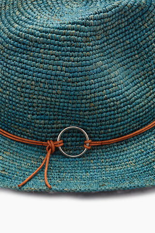 HAT ATTACK Raffia Crochet Rancher Hat - Turquoise Hat | Turquoise| Hat attack Raffia Crochet Rancher Hat - Natural/Turquoise Features:  Lightweight crochet rancher hat Leather hatband with ring detail Raffia Flat brim Spot clean Front View