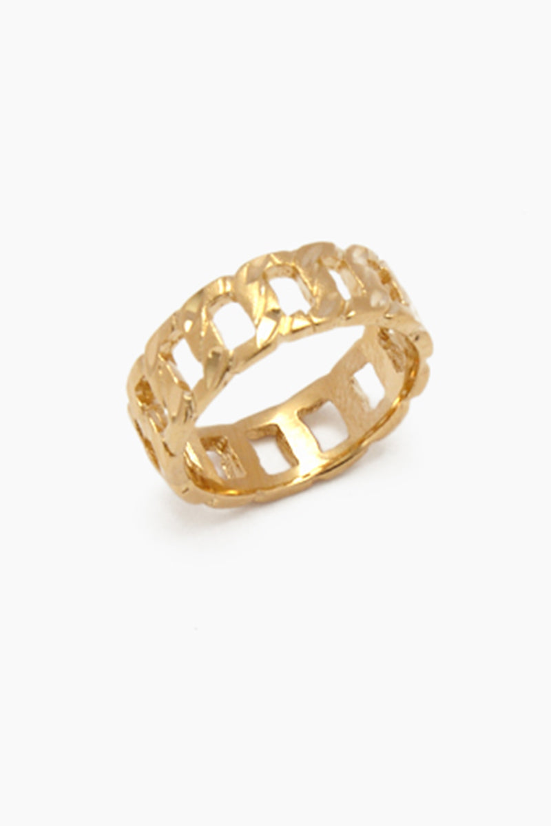 """VANESSA MOONEY The Chain Link Ring - Gold Jewelry 