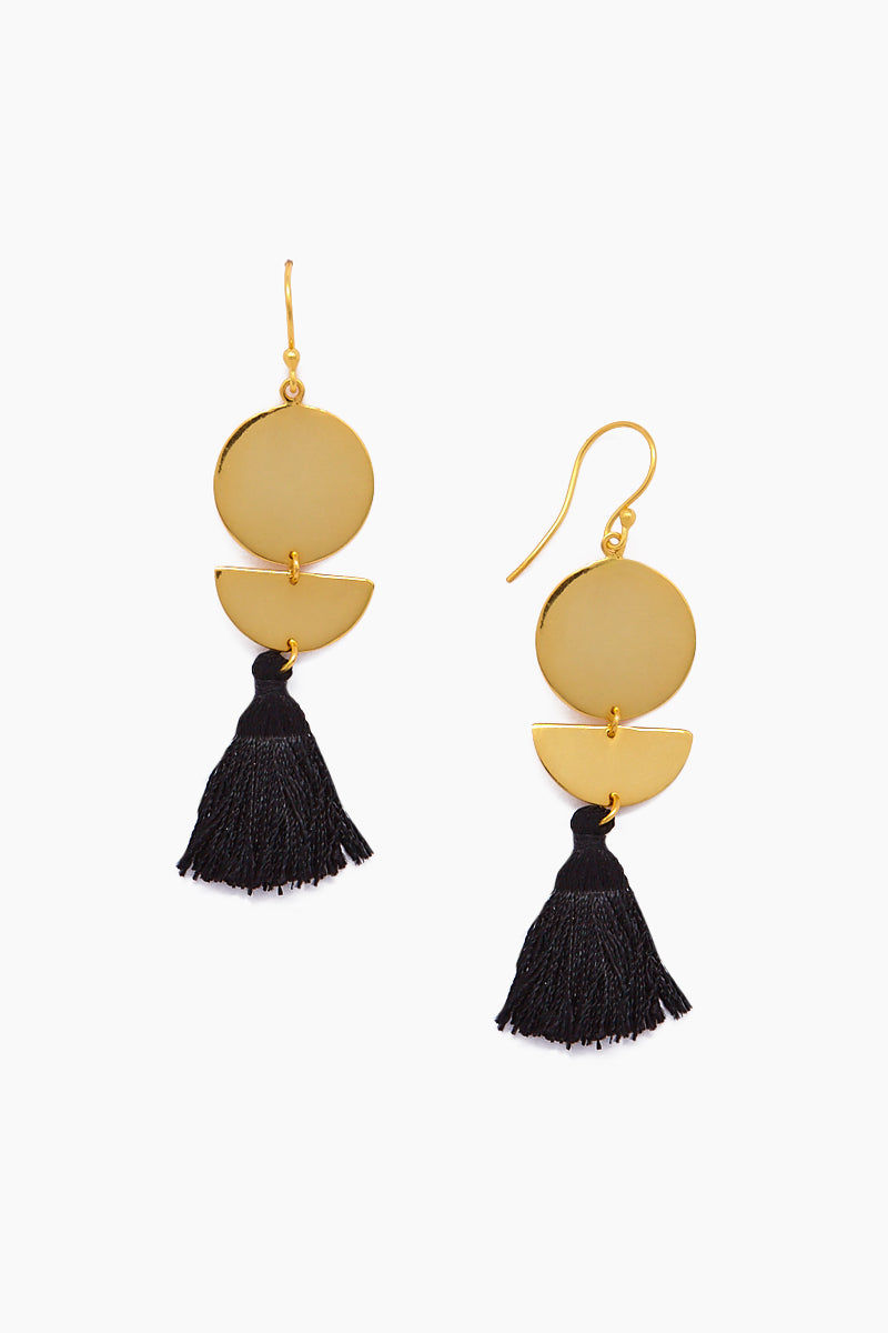 JONESY WOOD Lillia Earrings - Gold/Black Jewelry | Gold/Black| Jonesy Wood Lillia Earrings - Gold/Black. Features:  Dangling tassels Geo design Fish hook closure Front View