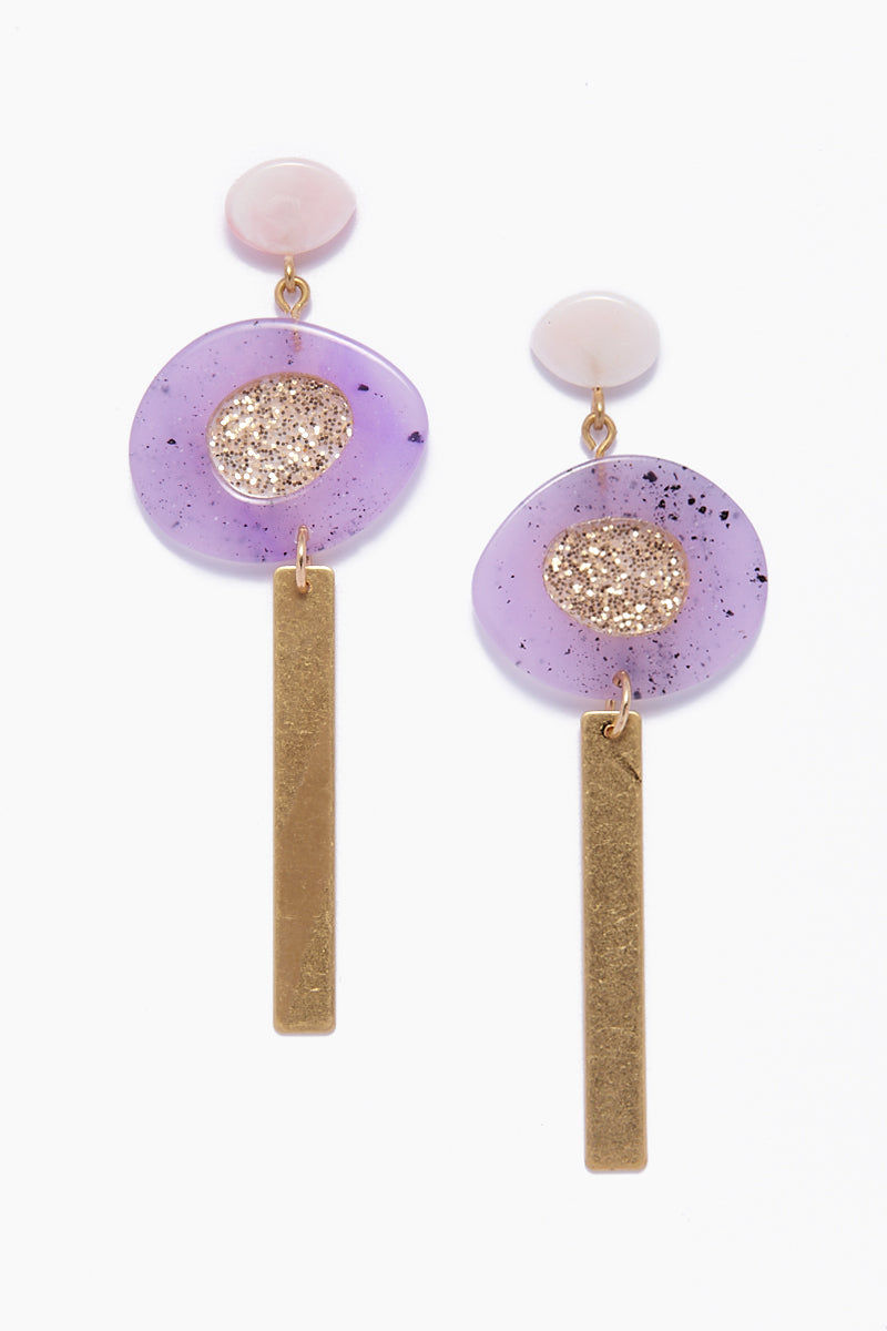 JONESY WOOD Wynona Earrings - Lavender/Gold Jewelry | Lavender/Gold| Jonesy Wood Wynona Earrings - Lavender/Gold. Features:  Purple and gold disc accent Gold plate drop detailing Front View
