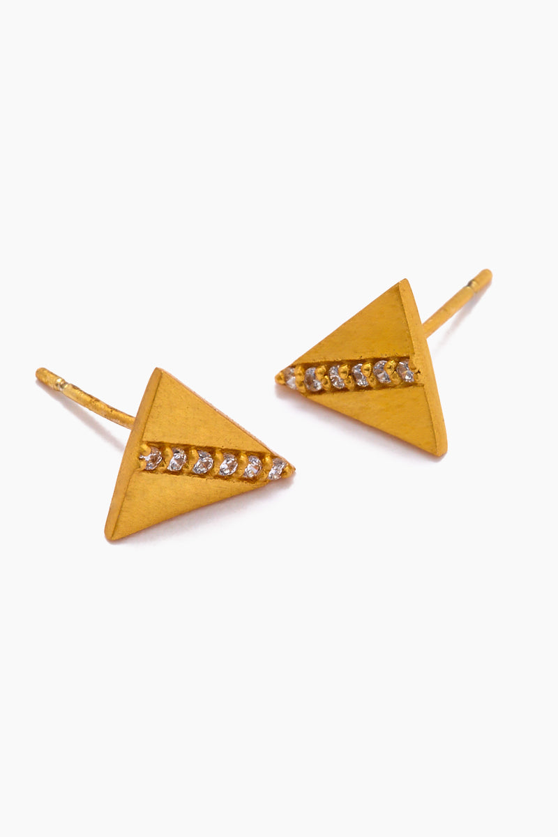 JONESY WOOD Annis Stud Earrings - Gold Jewelry | Gold| Jonesy Wood Annis Stud Earrings - Gold.Features:  Triangle stud earrings Crystal detailing Front View