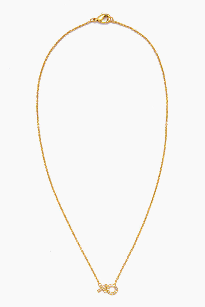 JONESY WOOD Amore Necklace - Gold Jewelry | Gold| Jonesy Wood Amore Necklace - Gold. Features:  XO gold necklace Crystalized XO charm Lobster clasp closure Front View