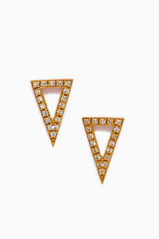 JONESY WOOD Honora Stud Earrings - Gold Jewelry | Gold| Jonesy Wood Honora Stud Earrings - Gold.Features:  Triangle stud earrings Crystal detailing Front View
