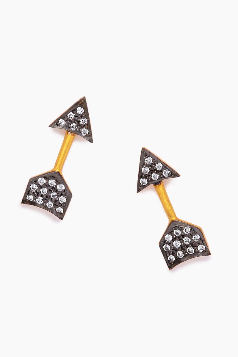 JONESY WOOD Imogen Stud Earrings - Gold/Black Jewelry   Gold/Black  Jonesy Wood Imogen Stud Earrings - Gold/Black. Features:  Arrow stud earrings Crystal detailing Front View