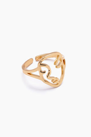 JONESY WOOD Marcia Ring - Gold Jewelry | Gold| Jonesy Wood Marcia Ring - Gold.Features:  Face design gold ring Clean band Front View