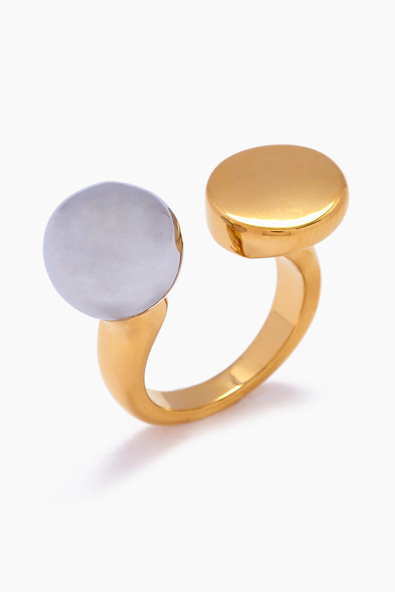 JONESY WOOD Chantell Ring - Silver/Gold Jewelry | Silver/Gold| Jonesy Wood Chantell Ring - Silver/Gold.Features:  Ring with ball and flat disc accent  Plain gold band Front View