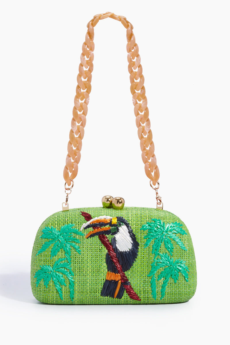 Serpui Mia Tucan Embroidered Straw Clutch Lime Green Bag
