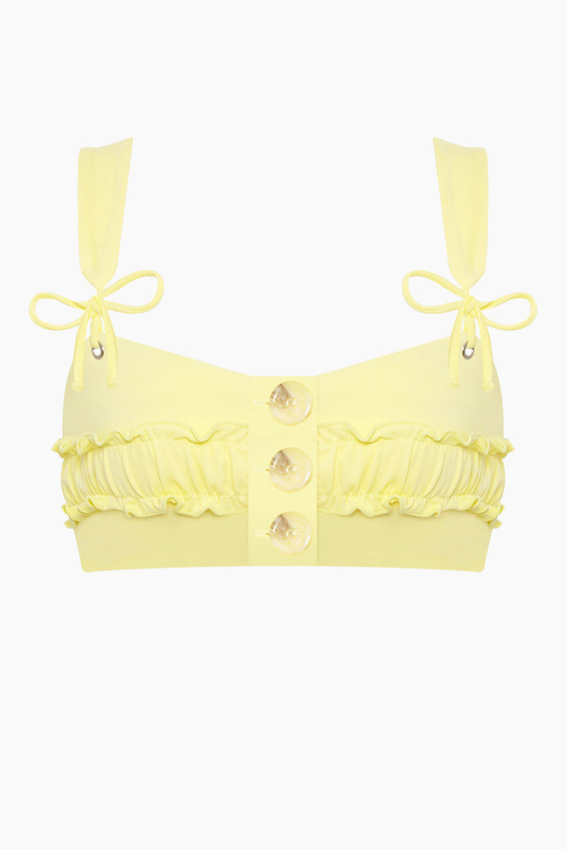 KAOHS Rae Button Up Bikini Top - Yellow Bikini Top | Yellow| Kaohs Rae Button Up Bikini Top - Yellow Features:  Adorable, supportive and button up bikini top Seamless fabric 80% nylon / 20% spandex Made in Los Angeles, California Wash in cold, dry in shade Front View
