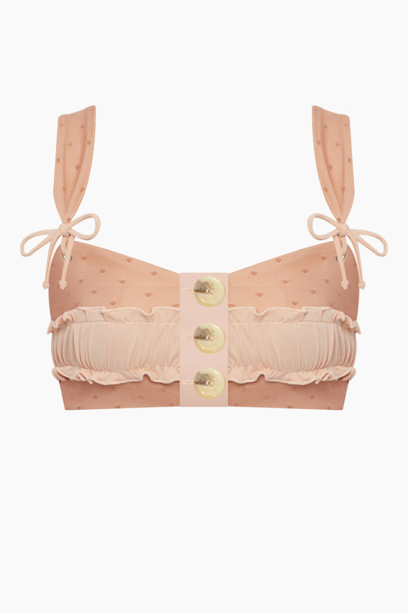 KAOHS Rae Button Up Bikini Top - Salmon Mesh Bikini Top | Salmon Mesh | Kaohs Rae Button Up Bikini Top - Salmon Mesh Features:  Adorable, supportive and button up bikini top Seamless fabric 80% nylon / 20% spandex Made in Los Angeles, California Wash in cold, dry in shade Front View