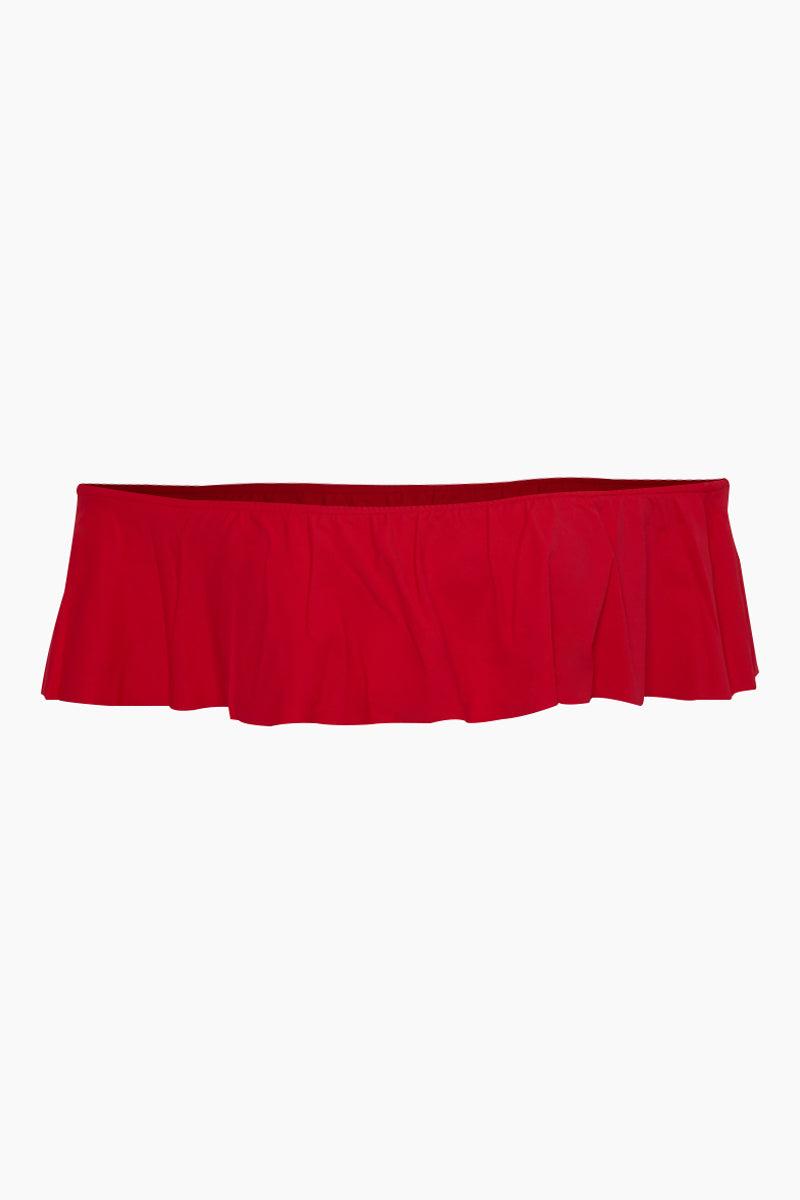 MAYLANA Cora Off Shoulder Bikini Top - Cherry Red Bikini Top | Cherry Red| Maylana Cora Off Shoulder Bikini Top - Cherry Red off the shoulder bandeau bikini top with a ruffle overlay Pull on Flatlay View