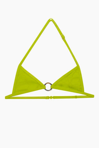 VILEBREQUIN KIDS Giteau Front Ring Bikini Top (Kids) - Chartreuse Kids Bikini | Chartreuse| Vilebrequin Kids Giteau Front Ring Bikini Top (Kids) - Chartreuse.Features: Kids triangle top Front ring  with turtle like scales Adjustable straps Back clasp closure 6% elastane, 94% polyamide Front View