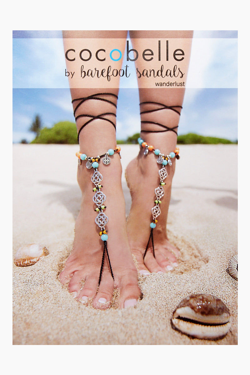 COCOBELLE Barefoot Sandals - Wanderlust Jewelry | Wanderlust| Cocobelle Barefoot Sandals - Wanderlust Beautiful blue and orange beads with infinity charms Chic barefoot sandals Look great at poolside, yoga class, beach wedding Barefoot or paired with other shoes One size fits all Close View
