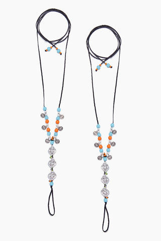 COCOBELLE Barefoot Sandals - Wanderlust Jewelry | Wanderlust| Cocobelle Barefoot Sandals - Wanderlust Beautiful blue and orange beads with infinity charms Chic barefoot sandals Look great at poolside, yoga class, beach wedding Barefoot or paired with other shoes One size fits all Front View