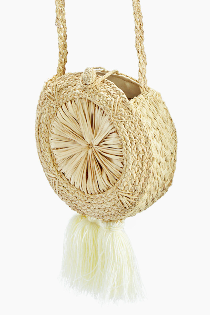 KA'IMIMA Macondo Crossbody Bag - White Tassels Bag | White Tassels|Ka'imima Macondo Crossbody Bag - Handmade crossbody with natural iraca palm Featuring woven clasp closure White Cotton and silk tassels Lined interior  Made in Colombia