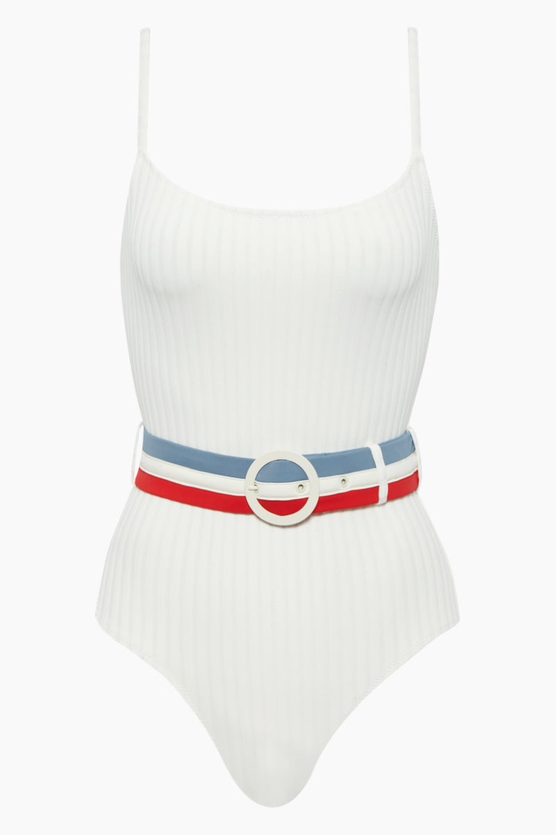 SOLID & STRIPED The Nina Belted One Piece Swimsuit - Cream Rib One Piece | Cream Rib| Solid & Striped The Nina Belted One Piece Swimsuit - Cream Rib Elegant one-piece with ribbed material Classic scoop neckline Spaghetti straps Waist defining belt  Fabric: 80% polyamide, 20% elastane Lining: 85% polyamide, 15% elastane Care Instructions: hand wash in cold water; do not tumble dry Flatlay View