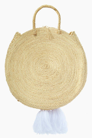 KA'IMIMA Macondo Grand Bag - White Tassels Bag | White Tassels|Ka'imima Macondo Grand Bag - Handmade crossbody with natural iraca palm Featuring woven clasp closure White Cotton and silk tassels Lined interior  Made in Colombia Back View