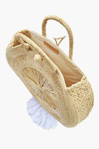 KA'IMIMA Macondo Grand Bag - White Tassels Bag | White Tassels|Ka'imima Macondo Grand Bag - Handmade crossbody with natural iraca palm Featuring woven clasp closure White Cotton and silk tassels Lined interior  Made in Colombia Top View