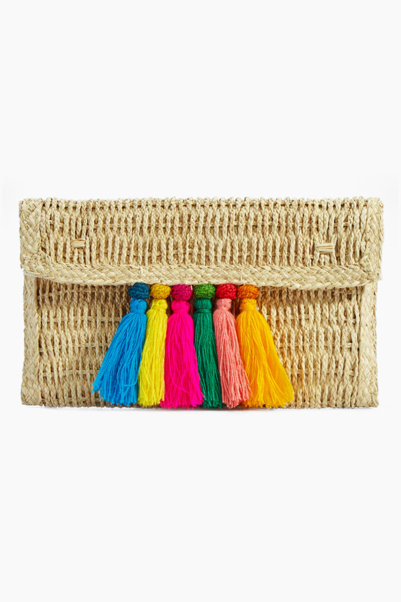 KA'IMIMA Carnaval Clutch - Rainbow Bag | Rainbow|Ka'imima Carnaval Clutch - Handmade with natural iraca palm Rainbow color Cotton and silk tassels Made in Colombia