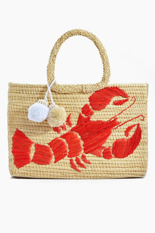 KA'IMIMA Langosta Large Bag - Coral Bag | Coral|Ka'imima Langosta Large Bag - Handmade with natural iraca palm Red Lobster embroidery White color Cotton and silk tassels Made in Colombia