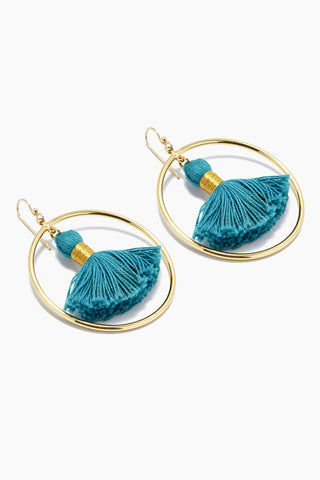 LACEY RYAN Teal Tassel Hoops Jewelry | Turquoise |Lacey Ryan Teal Tassel Hoops. Features:  Turquoise hoops Made from brass 14k gold fish hook Handmade silk Turquoise hoops. Front View