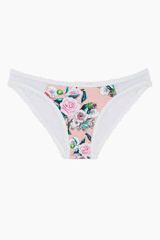 BEACH JOY Lace Trim Moderate Bikini Bottom - Floral Bikini Bottom |  Floral| Beach Joy Lace Trim Moderate Bikini Bottom - Floral. Features:  Lace-up edges Floral print Cheeky coverage Front View