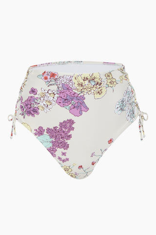 BEACH JOY Lace Up High Waisted Bikini Bottom - Purple Blossom Bikini Bottom | Purple Blossom| Beach Joy Lace Up High Waisted Bikini Bottom - Purple Blossom.  Features:  High waisted bikini bottom Lace up tie on the sides Floral print Front View