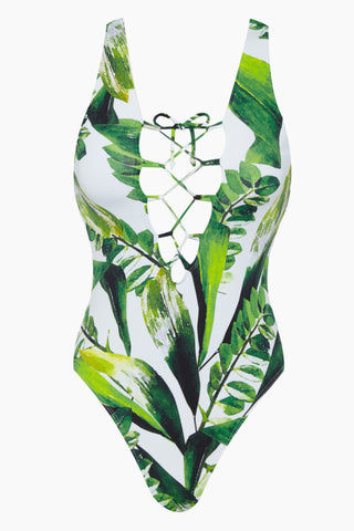 BEACH JOY Lace Up Front One Piece Swimsuit - Tropical One Piece | Tropical| Beach Joy Lace Up Front One Piece Swimsuit - Tropical. Features:  Thick supportive straps Plunging neckline Lace up front closure High leg cut Front View