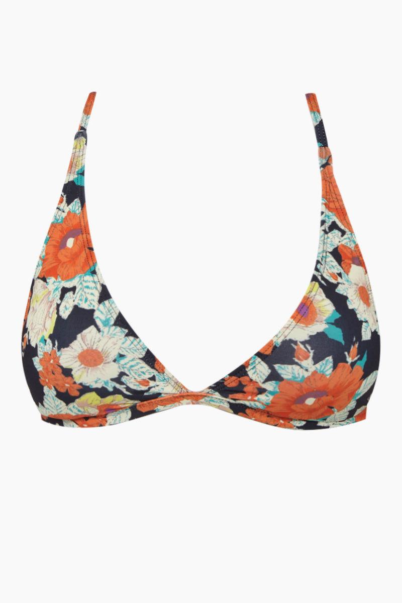 BEACH JOY Triangle Bikini Top - Vintage Floral Bikini Top | Vintage Floral| Beach Joy Triangle Bikini Top - Vintage Floral. Features:  Bralette bikini top Plunging neckline Vintage floral print Front View