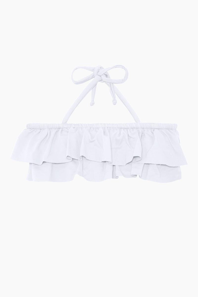 MAYLANA KIDS Kerri Bandeau Bikini Set (Kids) - White Kids Bikini | White | Maylana Kids Kerri Bandeau Bikini Set (Kids) - White Halter neck tie Bandeau style Ruffle style  Tie side bottom Top View