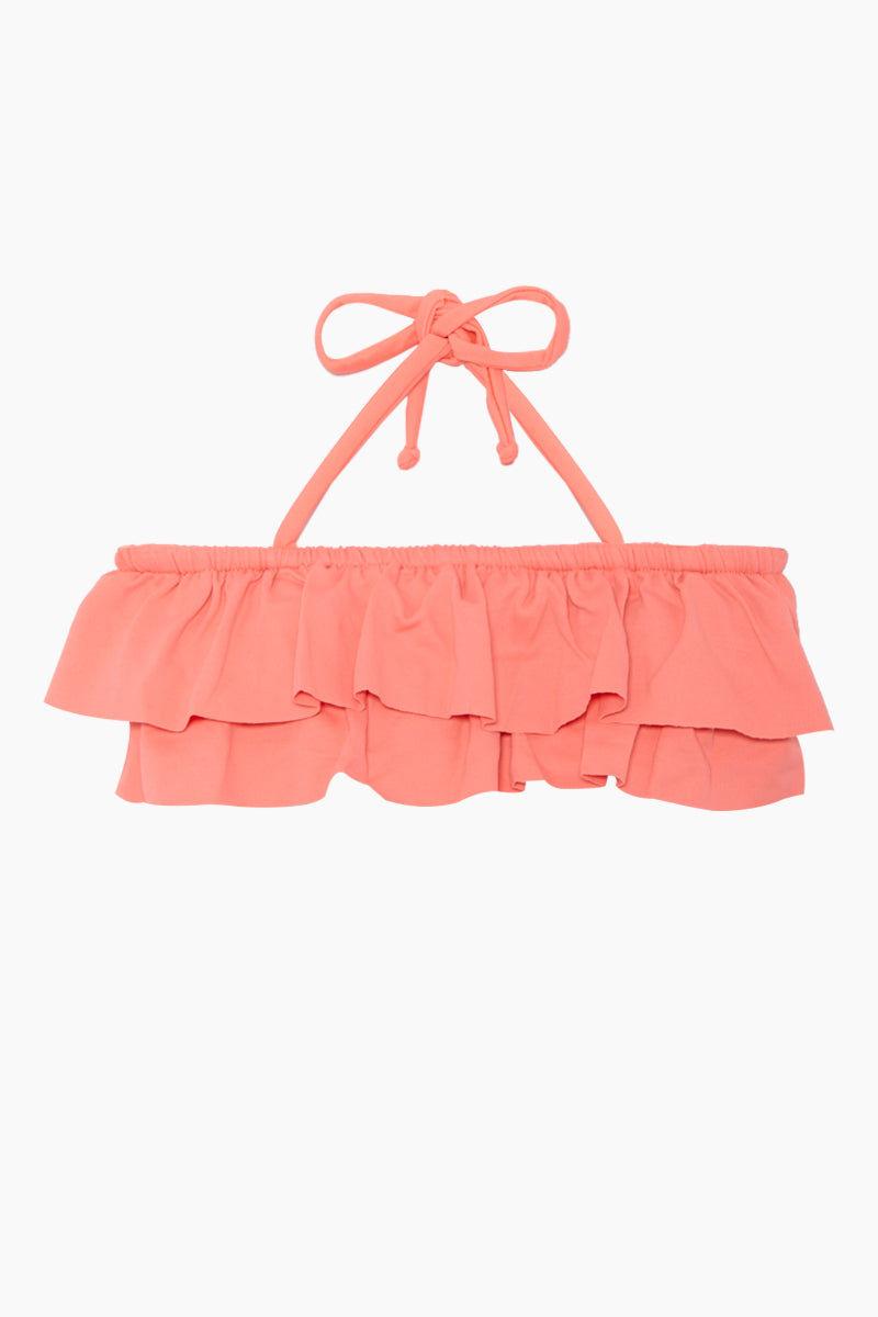 MAYLANA KIDS Kerri Bandeau Bikini Set (Kids) - Peach Kids Bikini | Peach | Maylana Kids Kerri Bandeau Bikini Set (Kids) - Peach Halter neck tie Bandeau style Ruffle style  Tie side bottom Top View