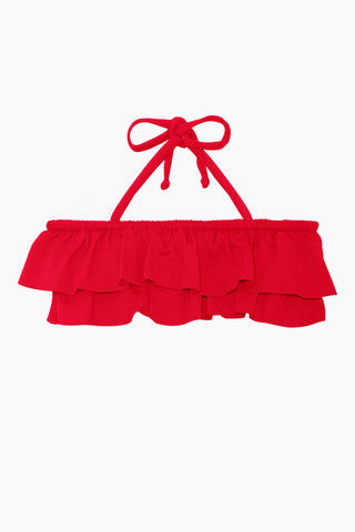 MAYLANA KIDS Kerri Bandeau Bikini Set (Kids) - Cherry Red Kids Bikini | Cherry Red | Maylana Kids Kerri Bandeau Bikini Set (Kids) - Cherry Red Halter neck tie Bandeau style Ruffle style  Tie side bottom Top View