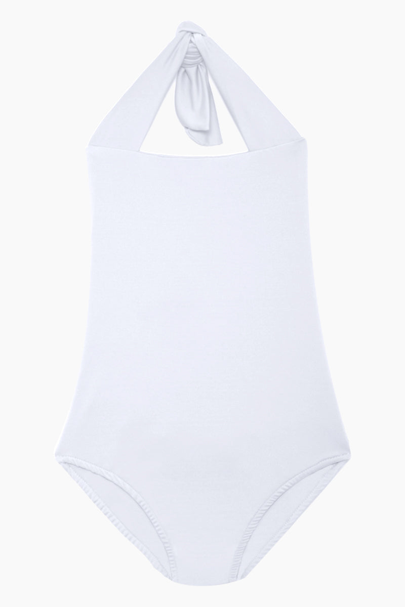 MAYLANA KIDS Layla Open Back One Piece Swimsuit (Kids) - White Kids One Piece | White| Maylana Kids Layla Open Back One Piece Swimsuit (Kids) - White Kid's One Piece Thick Halter Ties Open Back Ruffle Back Detail Front View