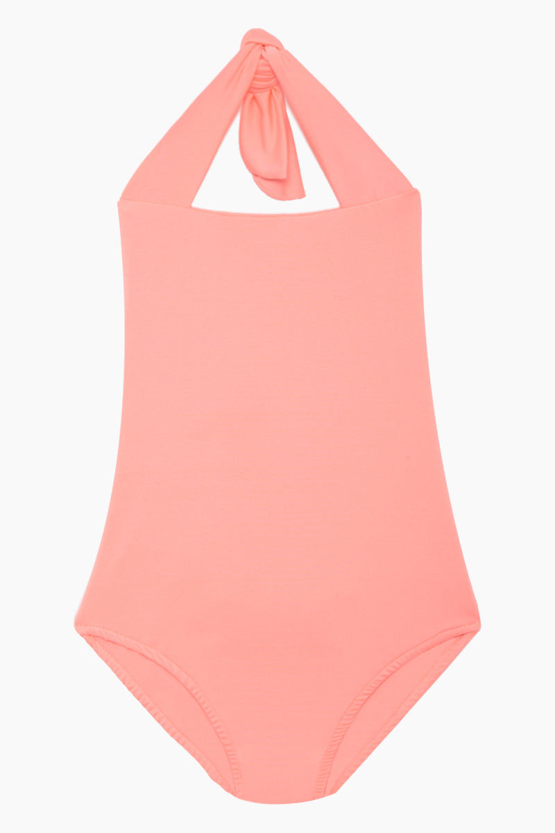 MAYLANA KIDS Layla Open Back One Piece Swimsuit (Kids) - Salmon Kids One Piece | Salmon| Maylana Kids Layla Open Back One Piece Swimsuit (Kids) - Salmon Kid's One Piece Thick Halter Ties Open Back Ruffle Back Detail Front View