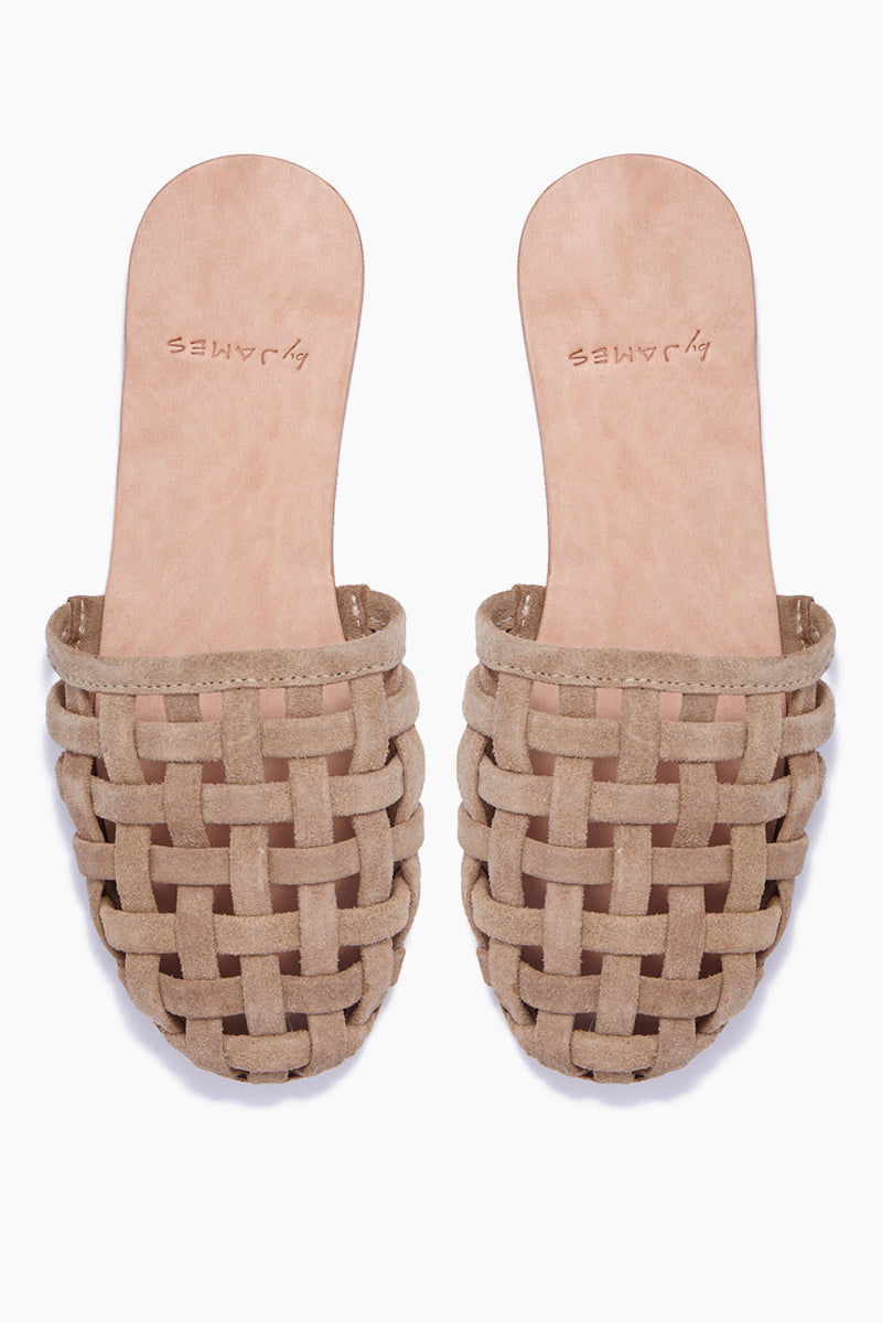 BYJAMES Cage Strappy Sandals - Nude Sandals | Nude| ByJAMES Cage Strappy Sandals - Nude Closed Toe Slip On Sandals Multi Soft Suede Straps in Black  Leather Insole  Handcrafted in Valladolid, Mexico Front View
