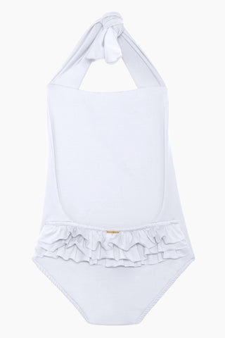 MAYLANA KIDS Layla Open Back One Piece Swimsuit (Kids) - White Kids One Piece | White| Maylana Kids Layla Open Back One Piece Swimsuit (Kids) - White Kid's One Piece Thick Halter Ties Open Back Ruffle Back Detail Back View
