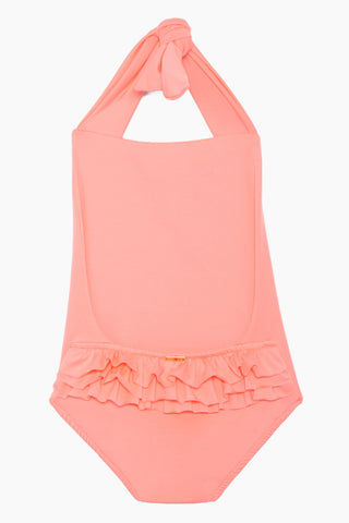 MAYLANA KIDS Layla Open Back One Piece Swimsuit (Kids) - Salmon Kids One Piece | Salmon| Maylana Kids Layla Open Back One Piece Swimsuit (Kids) - Salmon Kid's One Piece Thick Halter Ties Open Back Ruffle Back Detail Back View