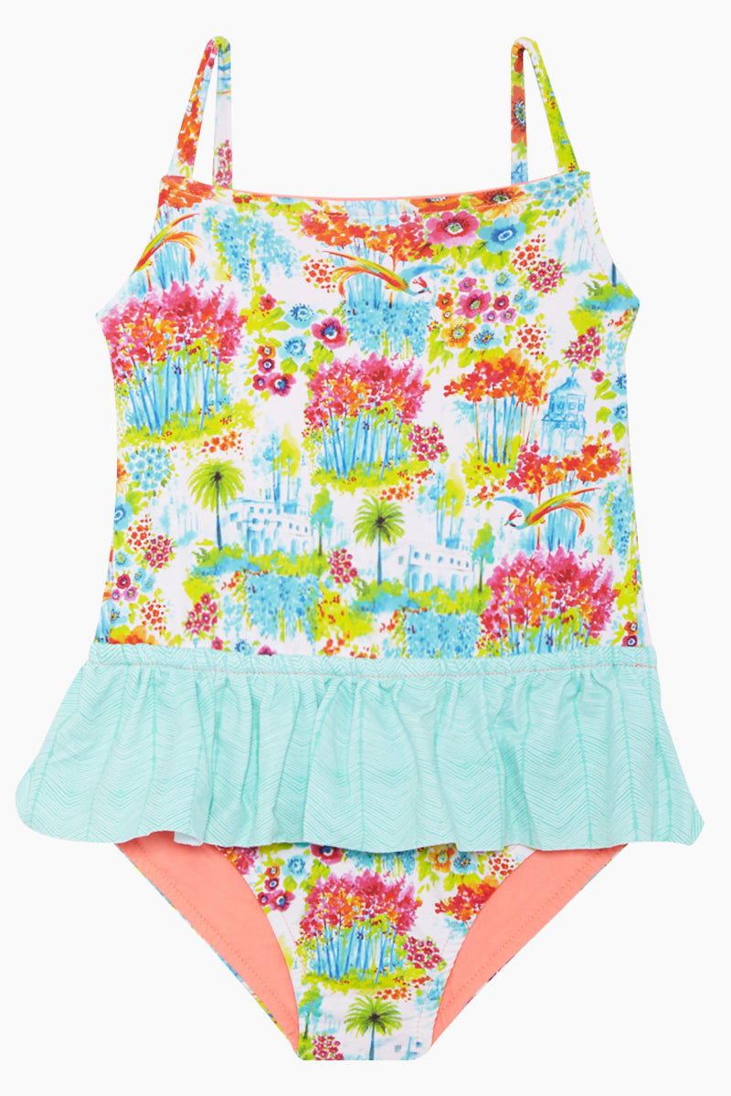 MAYLANA KIDS Rosie Ruffle One Piece Swimsuit (Kids) - Botanic Gardens Kids One Piece | Botanic Gardens| Maylana Kids Rosie Ruffle One Piece Swimsuit (Kids) - Botanic Gardens Kid's One Piece  Thin Shoulder Straps  Ruffle Waist Detail  Front View