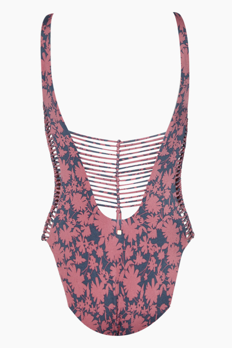 DOLCE VITA Kona Flora Macrame One Piece Swimsuit - Dusty Rose One Piece | Dusty Rose| Dolce Vita Kona Flora Macrame One Piece Swimsuit - Dusty Rose Deep Scoop V Neckline  Macrame Sides Detail  Thick Shoulder Straps  Macrame Back Detail Cheeky - Moderate Coverage  Back View