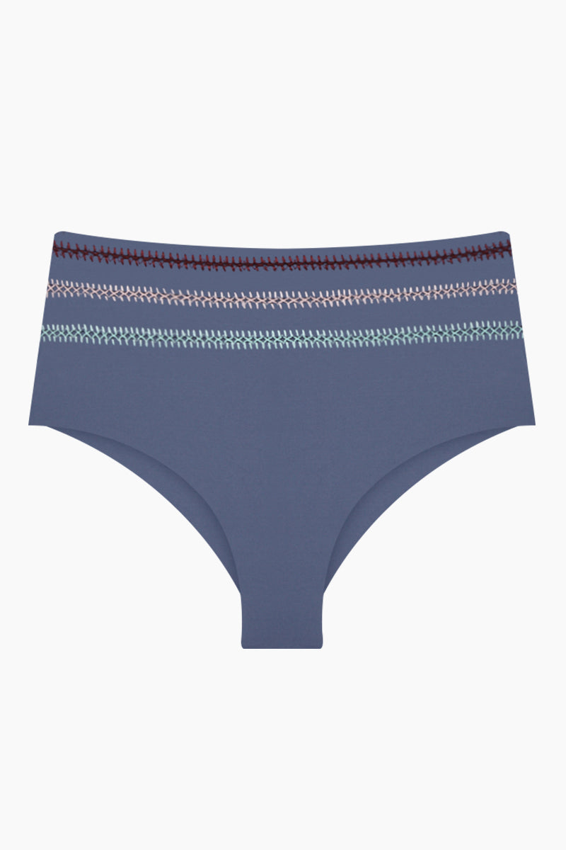 DOLCE VITA Kokomo High Waisted Bikini Bottom - Pigeon Bikini Bottom | Pigeon| Dolce Vita Kokomo High Waisted Bikini Bottom - Pigeon. Features:  High waist bottom  Tropical-inspired embroidered stripes for a chic, vacay-ready look Moderate coverage 82% Nylon, 18% Spandex Front View