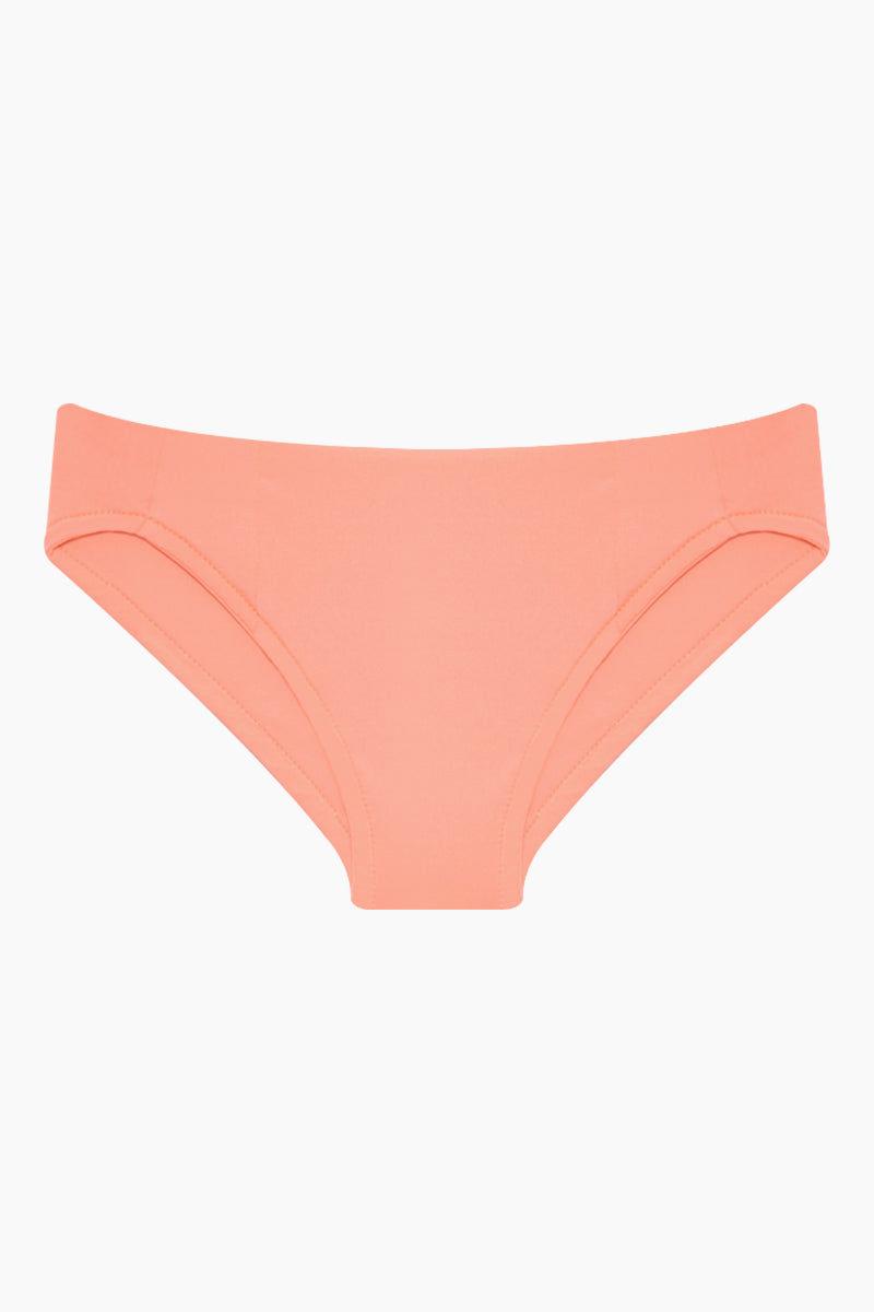 MAYLANA KIDS Rasha Bikini Set (Kids) - Peach Kids Bikini | Peach | Maylana Kids Rasha Bikini Set (Kids) - Peach Features: Kid's Rashguard & Bikini Bottom  High Neck Longsleeves  Mid Rise Bottom Bottom View